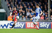 Blackburn Rovers' Craig Conway vies for possession with Bristol Rovers' Tom Lockyer<br /> <br /> Photographer Ashley Crowden/CameraSport<br /> <br /> The EFL Sky Bet League One - Bristol Rovers v Blackburn Rovers - Saturday 14th April 2018 - Memorial Stadium - Bristol<br /> <br /> World Copyright &copy; 2018 CameraSport. All rights reserved. 43 Linden Ave. Countesthorpe. Leicester. England. LE8 5PG - Tel: +44 (0) 116 277 4147 - admin@camerasport.com - www.camerasport.com