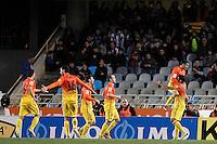 FC Barcelona's Xavi Hernandez, Sergio Busquets, Leo Messi, Andres Iniesta, Jordi Alba and Daniel Alves celebrate goal during La Liga match.January 19,2013. (ALTERPHOTOS/Acero) /NortePhoto