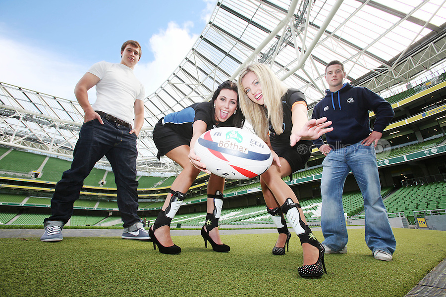 NO REPRO FEE. 8/9/2010. Bóthar launching Rugby Rocks Fashion. Leinster Rugby players Brendan Macken and John Cooney, Ms Limerick, Valerie Somers and Ms Clare, Alice Carroll are pictured at the the Aviva Stadium, Lansdowne Road, Dublin to launch Bóthar's Rugby Rocks Fashion.This is the first fashion event to take place at the newly developed stadium. Tickets are EUR60 and discounts are available with multiple purchases. Log onto www.bothar.ie for further information or call 1850 82 99 99.. Picture James Horan/Collins