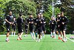 Stockholm 2014-06-07 Fotboll Superettan Hammarby IF - Tr&auml;ning :  <br /> Marko Mihajlovic , Pablo Pinones-Arce , Stefan Batan och Andreas Haddad v&auml;rmer upp under Hammarbys tr&auml;ning p&aring; &Aring;rsta IP den 7 juni 2014<br /> (Foto: Kenta J&ouml;nsson) Nyckelord:  Superettan  HIF Bajen Tr&auml;ning &Aring;rsta IP