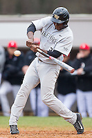 Kevin Jordan (21) of the Wake Forest Demon Deacons takes his swings against the Davidson Wildcats at Wilson Field on March 19, 2014 in Davidson, North Carolina.  The Wildcats defeated the Demon Deacons 7-6.  (Brian Westerholt/Four Seam Images)