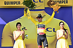 Race leader Greg Van Avermaet (BEL) BMC Racing Team retains the Yellow Jersey at the end of Stage 5 of the 2018 Tour de France running 204.5km from Lorient to Quimper, France. 11th July 2018. <br /> Picture: ASO/Pauline Ballet | Cyclefile<br /> All photos usage must carry mandatory copyright credit (&copy; Cyclefile | ASO/Pauline Ballet)
