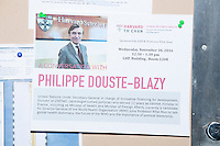 A flyer announces a lunch-time conversation with Philippe Douste-Blazy during his visit to Harvard University's T. H. Chan School of Public Health in Boston, Massachusetts, USA. The visit is part of his campaign to become Director General of the World Health Organization. During the visit, he met with professors, students, and visiting scholars, including former Ministers of Health from England and Brazil. Doutse-Blazy is Under-Secretary-General and Special Adviser on Innovative Financing for Development in the United Nations and chairman of UNITAID. He served as Minister of Health, Minister of Culture, and Foreign Minister in the French government and was also mayor of Lourdes and Toulouse.