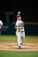 Fort Myers Miracle relief pitcher Jovani Moran (30) delivers a pitch during a game against the Lakeland Flying Tigers on August 7, 2018 at Publix Field at Joker Marchant Stadium in Lakeland, Florida.  Fort Myers defeated Lakeland 5-0.  (Mike Janes/Four Seam Images)