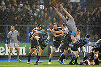Lloyd Williams of Cardiff Blues box-kicks the ball. European Rugby Challenge Cup match, between Cardiff Blues and Bath Rugby on December 10, 2016 at the Cardiff Arms Park in Cardiff, Wales. Photo by: Patrick Khachfe / Onside Images