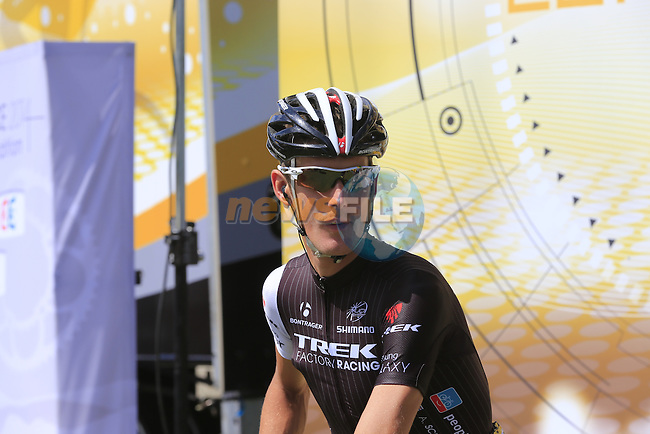 Andy Schleck (LUX) Trek Factory at sign on in Cambridge before the start of Stage 3 of the 2014 Tour de France running 155km from Cambridge to London. 7th July 2014.<br /> Picture: Eoin Clarke www.newsfile.ie
