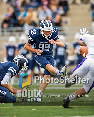 8 October 2016: Middlebury College Panther Kicker Carter Massengill, a Freshman from Summit, NJ, kicks against the Amherst College Purple & White at Alumni Stadium in Middlebury, Vermont. The Panthers edged out the Purple & While 27-26. Mandatory Credit: Ed Wolfstein Photo *** RAW (NEF) Image File Available ***