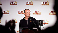 TALLAHASSEE, FLA. 2/6/13-FSUSIGNDAY020613 CH- Head Coach Jimbo Fisher receives a standing ovation during Florida State University's national signing day War Party, Feb. 6, 2013 in Tallahassee..COLIN HACKLEY PHOTO