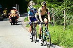 Lennard Hofstede (NED) Team Jumbo Visma and Polka Dot Jersey Julian Alaphilippe (FRA) Deceuninck-Quick Step out front from the breakaway group in action during Stage 7 of the Criterium du Dauphine 2019, running 133.5km from Saint-Genix-les-Villages to Les Sept Laux - Pipay, France. 15th June 2019.<br /> Picture: ASO/Alex Broadway | Cyclefile<br /> All photos usage must carry mandatory copyright credit (© Cyclefile | ASO/Alex Broadway)