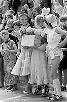 Fancy Dress at the Education Centre, Festival & Gala Day, Wester Hailes, Scotland, 1979.  John Walmsley was Photographer in Residence at the Education Centre for three weeks in 1979.  The Education Centre was, at the time, Scotland's largest purpose built community High School open all day every day for all ages from primary to adults.  The town of Wester Hailes, a few miles to the south west of Edinburgh, was built in the early 1970s mostly of blocks of flats and high rises.