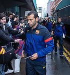 Javier Mascherano arrives at Barcelona's city centre hotel