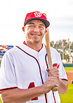 28 February 2016: Washington Nationals outfielder Tony Campana poses for his Spring Training Photo-Day portrait at Space Coast Stadium in Viera, Florida. Mandatory Credit: Ed Wolfstein Photo *** RAW (NEF) Image File Available ***
