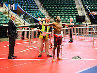Olympic Gold champion wrestler Jordan Burroughs (cq), during his official weigh-in and body check at the Pan American Championships at Dr. Pepper Arena in Frisco, Texas, Friday, February 26, 2015. Burroughs went on to win Gold at the event. <br /> <br /> Photo by Matt Nager
