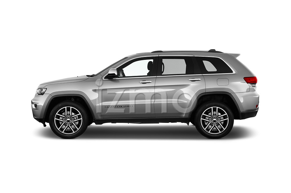 Car driver side profile view of a 2018 Jeep Grand-Cherokee Limited 5 Door SUV