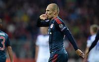 FUSSBALL   CHAMPIONS LEAGUE   SAISON 2013/2014   Vorrunde FC Bayern Muenchen - ZSKA Moskau       17.09.2013 Arjen Robben (FC Bayern Muenchen) freut sich nach seinem Tor zum 3:0