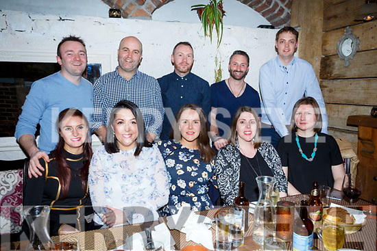 Friends enjoying a night out in the Croi Restaurant on Saturday night last. Seated l-r, Katie Tansley, Aisling Tess, Claire O&rsquo;Connor, Helen Mulcahy and Niamh Dreelan.<br /> Standing l-r, Padraig O&rsquo;Shea, Brian Tess, John O&rsquo;Connor, Maurice Mulcahy and  Michael Dreelan.