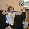 Wantagh No. 16 Nicole Hilton serves during a Nassau County varsity girls' volleyball match against South Side at Wantagh High School on Friday, October 23 2015. Wantagh won 25-15, 25-17, 28-26.<br /> <br /> James Escher