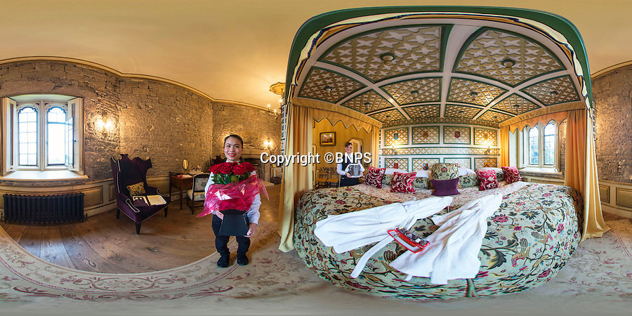 BNPS.co.uk (01202 558833)<br /> Pic: PhilYeomans/BNPS<br /> <br /> 360 Pano.<br /> <br /> Fancy a romantic Valentines stay in Britains largest hotel bed?<br /> <br /> This massive four-poster at historic Thornbury Castle near Bristol is ten feet wide and takes four people to make, it's special bedding involves two king-size sheets and duvets stitched together, and eight pillows. <br /> <br /> The castle has had a turbulent history, built in 1511 as the country seat of Edward Stafford, 3rd Duke of Buckingham. But only 10 years later Henry VIII confiscated it after beheading the unfortunate Duke for alleged treason in 1521, and even whisked Anne Boleyn there in 1535 as part of their Honeymoon Tour.<br /> <br /> To stay in the romantic Tower Suite it will cost you £650 for a two night Valentine special deal, that includes a five course meal for two, champagne on arrival and champagne truffles.