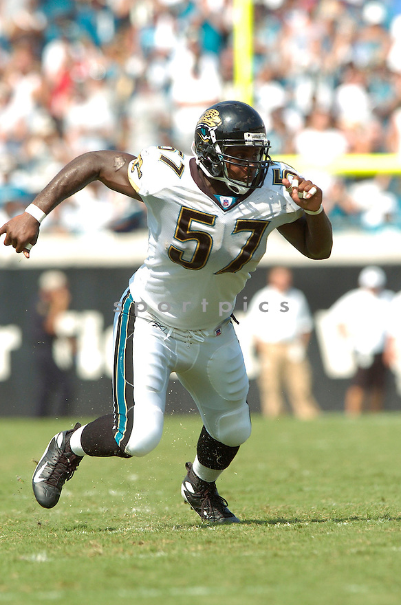 BRENT HAWKINS, of the Jacksonville Jaguars, in action during the Jaguars game against the Atlanta Falcons  in Jacksonville, FL on September 16, 2007.  The Jaguars won the game 13-7............