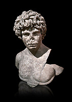 Roman statue of Antinous. Marble. Perge. 2nd century AD. Inv no . Antalya Archaeology Museum; Turkey. Against a black background.