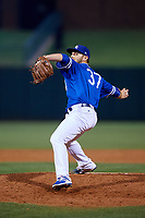 Oklahoma City Dodgers relief pitcher Madison Younginer (37) delivers a pitch during a game against the Colorado Springs Sky Sox on June 2, 2017 at Chickasaw Bricktown Ballpark in Oklahoma City, Oklahoma.  Colorado Springs defeated Oklahoma City 1-0 in ten innings.  (Mike Janes/Four Seam Images)