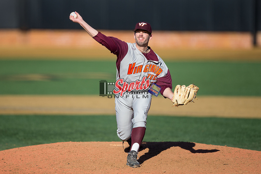Virginia Tech Hokies relief pitcher Luke Scherzer (17) in action against the Wake Forest Demon Deacons at Wake Forest Baseball Park on March 7, 2015 in Winston-Salem, North Carolina.  The Hokies defeated the Demon Deacons 12-7 in game one of a double-header.   (Brian Westerholt/Sports On Film)