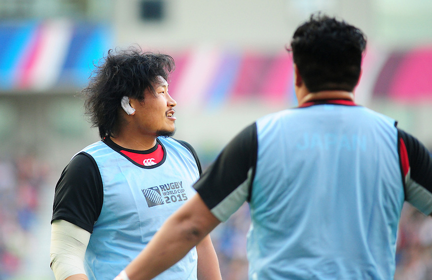Japan's Keita Inagaki during the pre match warm up<br /> <br /> Photographer Kevin Barnes/CameraSport<br /> <br /> Rugby Union - 2015 Rugby World Cup - Japan v South Africa - Saturday 19th September 2015 - The American Express Community Stadium - Falmer - Brighton<br /> <br /> &copy; CameraSport - 43 Linden Ave. Countesthorpe. Leicester. England. LE8 5PG - Tel: +44 (0) 116 277 4147 - admin@camerasport.com - www.camerasport.com