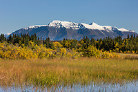 Fresh snow on Mount Katolinat, Katmai National Park, Alaska.