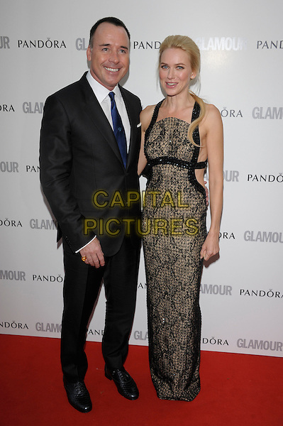 David Furnish, Naomi Watts.Women Of The Year 2012 - Glamour Awards, Berkeley Square, London, England..29th May 2012.full length black beige print dress snakeskin animal black white suit tie.CAP/PL.©Phil Loftus/Capital Pictures.