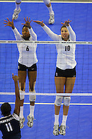 15 December 2007: Stanford Cardinal Franci Girard (6) and Alix Klineman (10) during Stanford's 25-30, 26-30, 30-23, 30-19, 8-15 loss against the Penn State Nittany Lions in the 2007 NCAA Division I Women's Volleyball Final Four championship match at ARCO Arena in Sacramento, CA.
