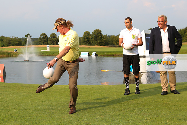 Miguel Angel Jimenez (ESP) shows his football keepy-uppy skills during the Foot Golf Challenge of the Opening Show Event of the BMW International Open 2014 from Golf Club Gut Lärchenhof, Pulheim, Köln, Germany. Picture:  David Lloyd / www.golffile.ie