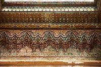 Berber Muqarnas Arabesque stalactite plaster work on the ceiling of the inner courtyard of  the Kashah of Telouet, Morocco