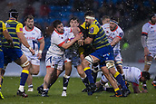 9th December 2017, AJ Bell Stadium, Salford, England; European Rugby Challenge Cup, Sale Sharks versus Cardiff Blues; Sale Sharks' Denny Solomona is tackled