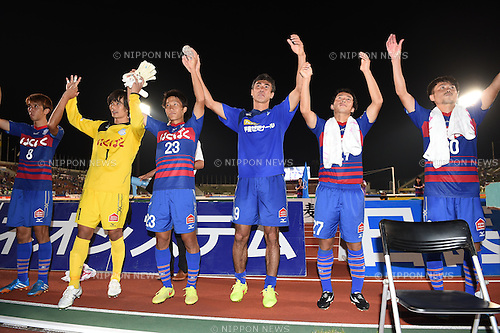 Ventforet Kofu team group,<br /> SEPTEMBER 13, 2014 - Football / Soccer :<br /> (L-R) Ryohei Arai, Kota Ogi, Sho Inagaki, Kohei Morita, Shohei Abe and Kazunari Hosaka of Ventforet Kofu acknowledge fans after the 2014 J.League Division 1 match between Ventforet Kofu 1-0 Sagan Tosu at Yamanashi Chuo Bank Stadium in Yamanashi, Japan. (Photo by AFLO)