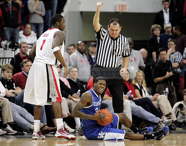 Freshman forward DeAndre Liggins makes a face in frustration after getting a foul called on him in the second half of UK's 80-68 win over Georgia at Stegeman Coliseum  in Athens, GA on Wednesday, March 3, 2010. Photo by Britney McIntosh | Staff