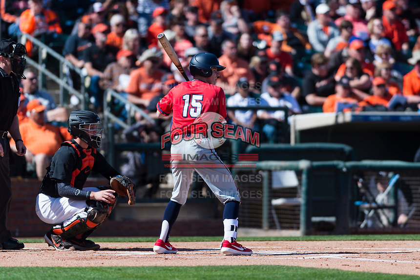Gonzaga Bulldogs third baseman Ernie Yake (15) at bat during a game against the Oregon State Beavers on February 16, 2019 at Surprise Stadium in Surprise, Arizona. Oregon State defeated Gonzaga 9-3. (Zachary Lucy/Four Seam Images)