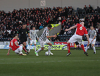 Kenny McLean beats Gerry McLauchlan on the way to scoring the opener in the St Mirren v Brechin City William Hill Scottish Cup Round 4 match played at St Mirren Park, Paisley on 1.12.12.