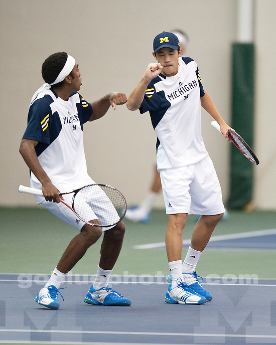 The 25th-ranked University of Michigan men's tennis team fell to 5th-ranked University of Texas 4-3 at the Varsity Tennis Center in Ann Arbor, MI, on January 22, 2011.