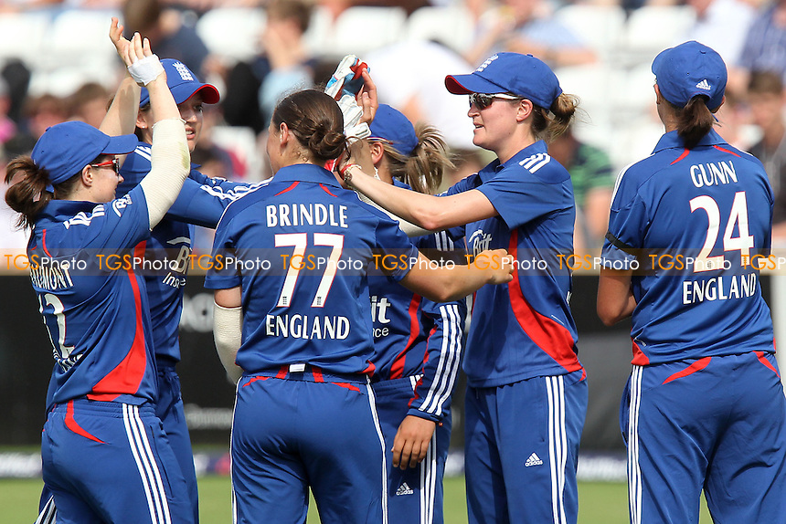 England celebrate the wicket of Indian batsman Mona Meshram - England Women vs India Women - International T20 Cricket at the Ford County Ground, Chelmsford, Essex - 28/06/12 - MANDATORY CREDIT: Gavin Ellis/TGSPHOTO - Self billing applies where appropriate - 0845 094 6026 - contact@tgsphoto.co.uk - NO UNPAID USE.
