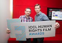 ***NO FEE PIC *** 05/06/2014 (L to R) Alan Whelan & Eoghan Rice from Food Not Fuel during the launch of the ICCL (Irish Council for Civil Liberties) Human Rights Film Awards Shortlist at the IFCO in Smith field, Dublin. Photo: Gareth Chaney Collins