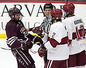 Hunter Racine (Colgate - 28), Jim Briggs, Reilly Walsh (Harvard - 2), John Marino (Harvard - 12) - The visiting Colgate University Raiders shut out the Harvard University Crimson for a 2-0 win on Saturday, January 27, 2018, at Bright-Landry Hockey Center in Boston, Massachusetts.