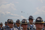 KSP 4 and Lexington Air 1 helicopters flew over as Trooper Eric Keith Chrisman was laid to rest Monday June 29, 2015 in Lawrenceburg, Ky.  Officers from across Kentucky and the Nation came to pay respects to his family.fb  Photo by Mark Mahan