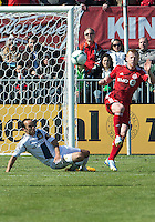 30 March 2013:Toronto FC defender Richard Eckersley #27 and  Los Angeles Galaxy midfielder Landon Donovan #10 in action during an MLS game between the LA Galaxy and Toronto FC at BMO Field in Toronto, Ontario Canada..The game ended in a 2-2 draw..