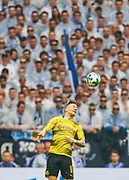 Marco REUS, BVB 11 header , header <br /> FC SCHALKE 04 -  BORUSSIA DORTMUND 2-0<br /> Football 1. Bundesliga , Gelsenkirchen,15.04.2018, 30. match day,  2017/2018 1.Bundesliga, BVB, S04, <br />  *** Local Caption *** © pixathlon<br /> Contact: +49-40-22 63 02 60 , info@pixathlon.de