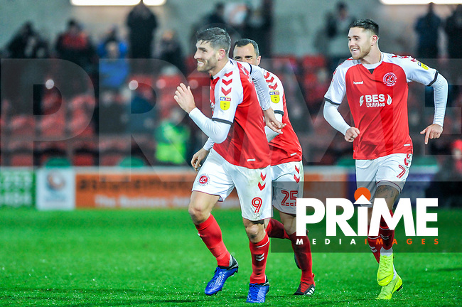 Fleetwood Town's forward Ched Evans (9) celebrates Fleetwood Town third during the Sky Bet League 1 match between Fleetwood Town and Coventry City at Highbury Stadium, Fleetwood, England on 27 November 2018. Photo by Stephen Buckley / PRiME Media Images.