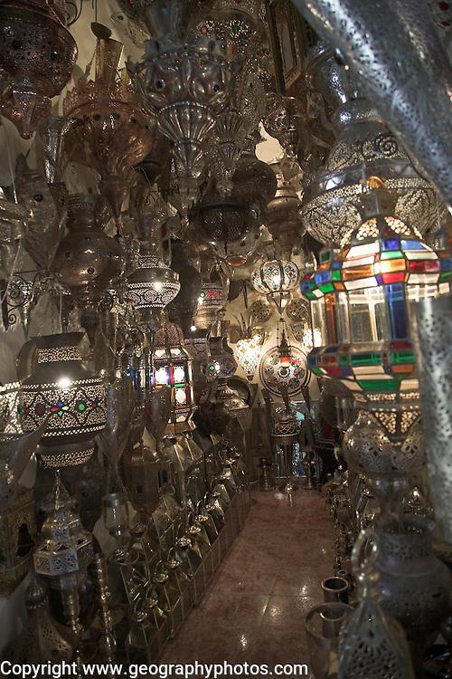 Metal work shop in the medina, Marrakech, Morocco