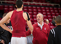 STANFORD, CA - January 26, 2019: Josh Sharma, Dick Gould at Maples Pavilion. The Stanford Cardinal defeated the Colorado Buffaloes 75-62.