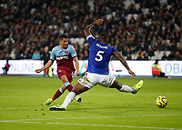 28th December 2019; London Stadium, London, England; English Premier League Football, West Ham United versus Leicester City; Pablo Fornals of West Ham United shoots past Wes Morgan of Leicester City to score his sides 1st goal in the 45th minute to make it 1-1 - Strictly Editorial Use Only. No use with unauthorized audio, video, data, fixture lists, club/league logos or 'live' services. Online in-match use limited to 120 images, no video emulation. No use in betting, games or single club/league/player publications