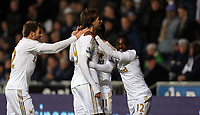 Sunday, 28 November 2012<br /> Pictured: (L-R) Angel Rangel, Michu, Pablo Hernandez and Nathan Dyer.<br /> Re: Barclays Premier League, Swansea City FC v West Bromwich Albion at the Liberty Stadium, south Wales.