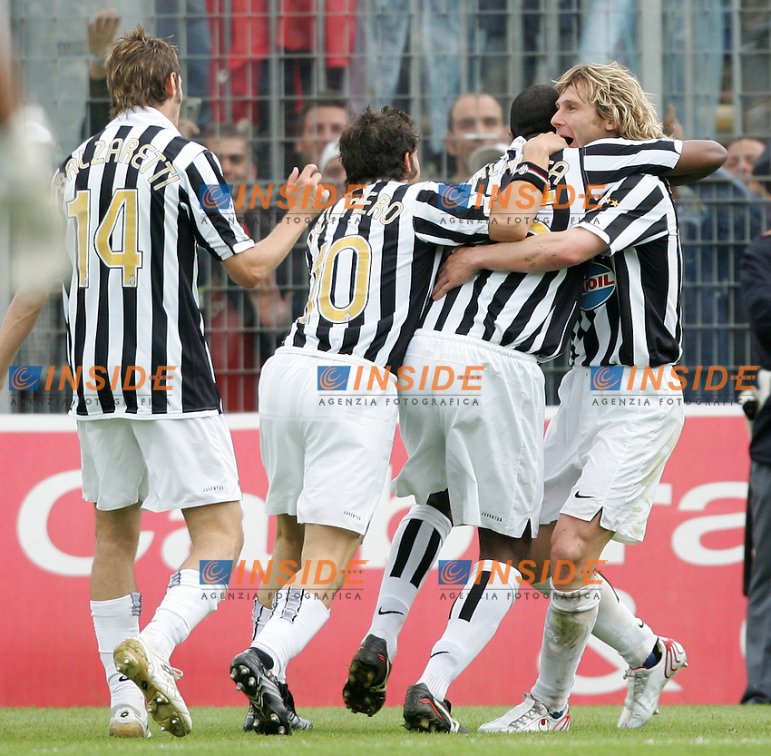 Marcelo Zalayeta (2ndR) celebrates after scoring with (from Left to Right) Federico Balzaretti, Alessandro Del Piero and Pavel Nedved  (Juventus) <br /> Esultanza di Marcelo Zalayeta dopo il secondo gol con Federico Balzaretti, Alessandro Del Piero e Pavel Nedved<br /> Italian &quot;Serie B&quot; 2006-2007 <br /> 1 May 2007 (Match Day 31)<br /> Frosinone Juventus (0-2)<br /> &quot;Matusa&quot; Stadium-Frosinone-Italy<br /> Photographer:Andrea Staccioli INSIDE
